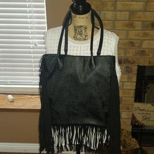 Handbags - Black fringed shoulder purse